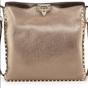 Valentino Rockstud Bronze Crossbody Messenger Bag